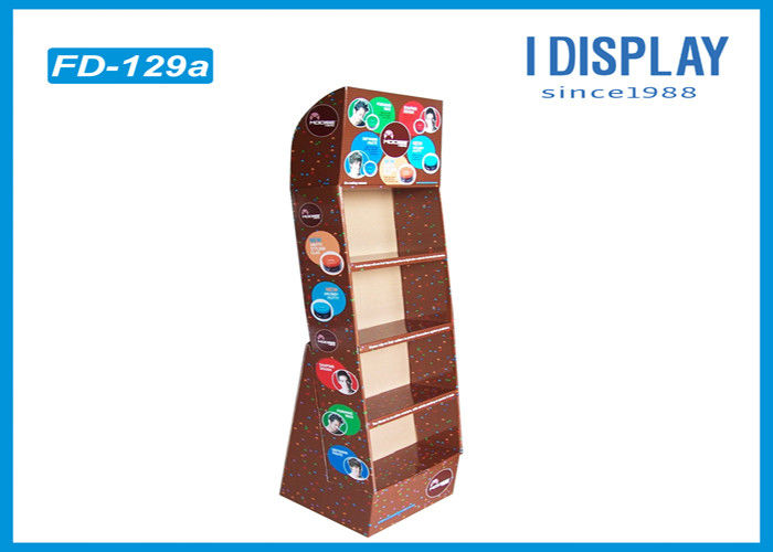 4 Tiers Skin Care Cardboard Product Display Stands Offset Printing