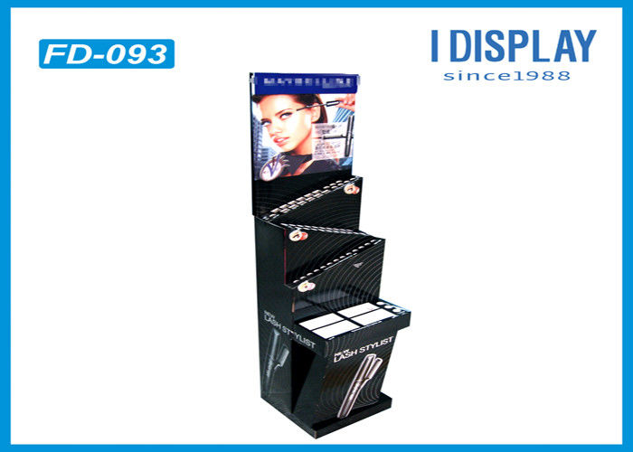 Glossy Lamination Retail Cardboard Display Shelves With 3 Tiers