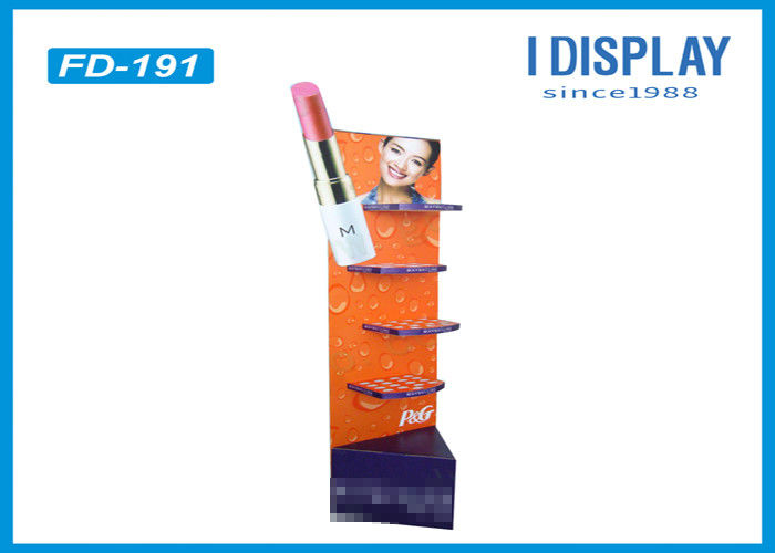 Lipstick Foldable Makeup Retail Display , 4 Tiers Custom Cardboard Display Stands