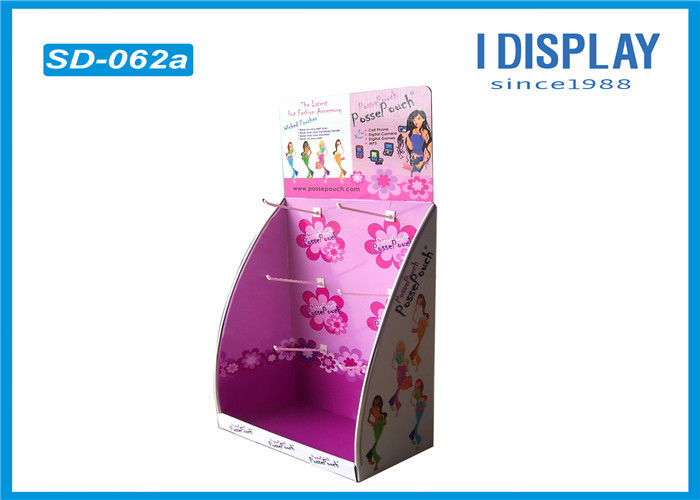 Cardboard Display Stand With Hooks , Hook Counter Display Double Wall