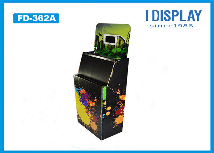 Black Corrugated Retail Cardboard Pallet Display Stand With Electronic Display
