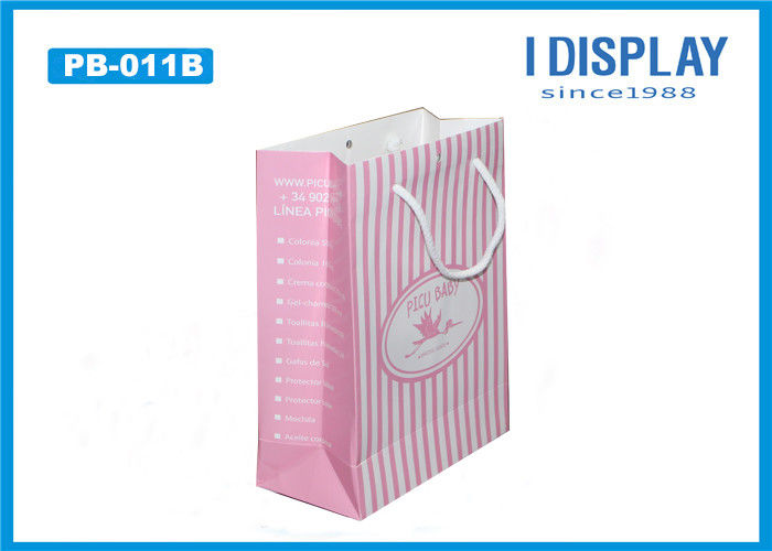 Pink White Striped Cardboard Packaging Gift Bags / Kraft Paper Bags